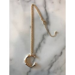 Onyx Crown - Initial Necklace - C