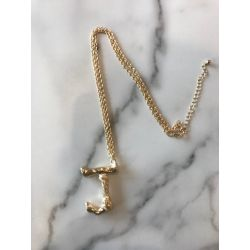 Onyx Crown - Initial Necklace - J