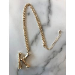 Onyx Crown - Initial Necklace - K